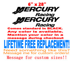 Pair Of 6 X 28 Mercury Racing Boat Hull Decals. Marine Grade Your Color Choice
