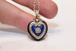 Antique Victorian Style 14k Gold New Made Natural Diamond Heart Necklace
