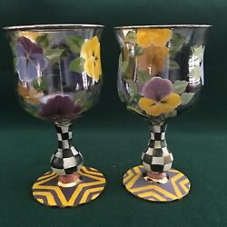 Set Of 2 Mackenzie-childs 1983 Pansy Hand Painted Goblets Water Wine Have 8