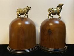 Vintage Wall Street Stock Market Bookends Bronze Bull And Bear On Wood Bases