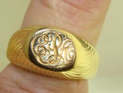 Rare Vintage And Co. Jean Schlumberger 18kt Solid Gold Signet Ring Sz 9