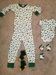 Green Bay Packers Fan Lot Youth 8 Kids Pajama Set Infant 3-6 Months Outfit Socks