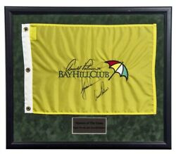 Tiger Woods And Arnold Palmer Dual Signed Bay Hill Club Flag Beckett
