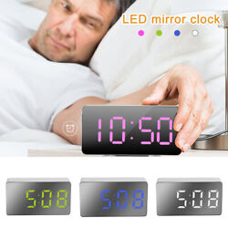Electric Digital LED Alarm Clock USB Operated Mirrored Design Bedside Home Room