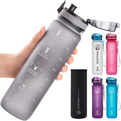 Cactaki 32 Oz Water Bottle With Time Marker   Bpa Free   Leak Proof   Measures H