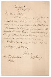 Rutherford B. Hayes Signed 1887 Letter Regarding Famous Ride Of General Sheridan