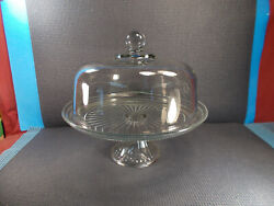 Anchor Hocking Glass Monaco Pattern Pedestal Cake Stand And Dome 12 Wide