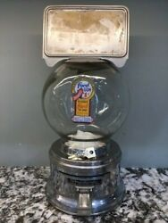 Antique Penny 1c Ford Gum Gumball Machine Glass Globe With Original Lock And Key