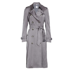 Gray Boscastle Silk Satin Double-breasted Utilitarian Trench Coat 2us 4