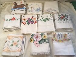 Vintage Lot Of 10 Pair Embroidered Pillowcases