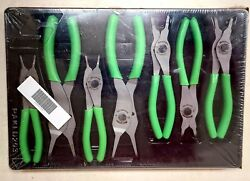 New Snap On Tools Green 7 Pc Retaining Ring Pliers Set Usa Srpcr107g