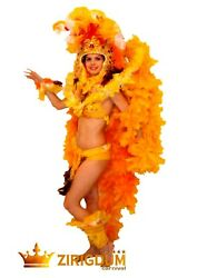 Yellow Feathered Showgirl Carnival Costume With Feathers Headdress To Dancers