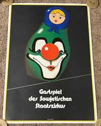 Original 1983 East Germany Soviet State Circus Poster, Rolled, Nesting Doll
