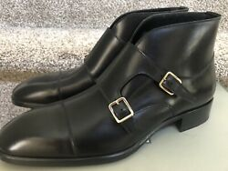 Tom Ford Sutherland Monk Strap Boots Black Leather Size Us 11.5 Cap Toe 10.5uk