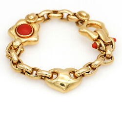 Il Gioiello Red Coral Heart Charm Link Bracelet In 18k Yellow Gold