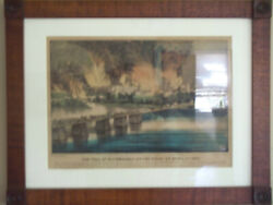 Currier And Ives Lithograph Fall Of Richmond Civil War Framed Nice 18x14 Color