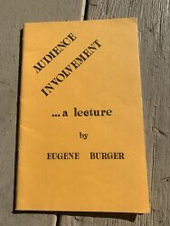 """""""audience Involvement"""" By Eugene Burger /close-up Magic Book"""