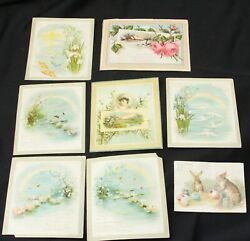 12 Antique Victorian Scrap Easter Cards And Paint Book Ephemera Paper
