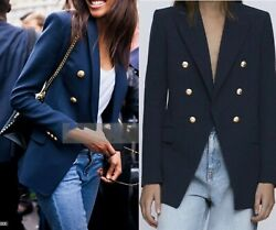 Zara Women Double Breasted Tailored Blazer Gold Buttons Navy Blue 8255/703 New