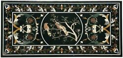 3and039x2and039 Black Marble Coffee Table Top Semi Precious Stones Inlay Antique Mosaic