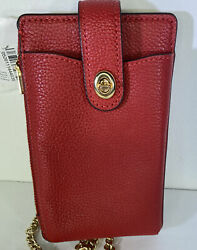 COACH Leather Turnlock Chain Phone Crossbody Pouch Wallet Electric Red NEW $79.95