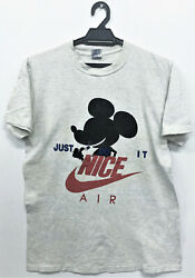 Vintage 90s Nice Mickey Mouse Taking Pil Just Do It Swoosh T-shirt Punk Rap