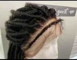 Hand Braided Faux Locs On A Full Lace Wig