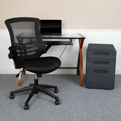 Work From Home Kit - Glass Desk W/keyboard Tray Ergonomic Mesh Office Chair And F