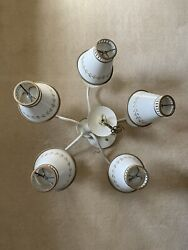 Vintage French Country Chandelier With 5 Candlesticks Lights And Metal Shades