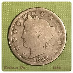 1886 Liberty V Nickel Key Date In The Series. Low Grade Condition