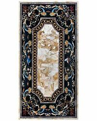 5and039x3and039 Antique Coffee Marble Table Top Pietra Dura Inlay Home Decor Mosaic