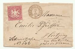 Sr-419 Germany Wurttemberg Scott 11a Dk Lilac Red On Cover 9-15-1860 2400