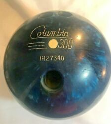 Columbia Bowling Ball White Dot 300 Vintage 15lb Drilled Used Blue Swirl Games