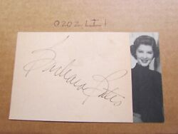Barbara Bates Signed Autographed Index Card With Photo