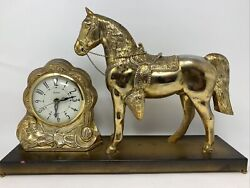 Vintage Brass Tone Finish Horse And Clock/ Movement By United Made In Usa Working