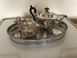 Lovely 3 Piece Silver Plated Tea Service On A Silver Plated Oval Tray