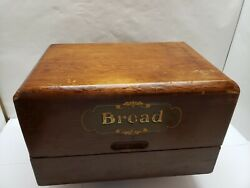 Vintage Wood Bread Box Country Farm House Kitchen