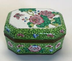 Vintage Champleve Chinese Floral Butterfly Enamel Brass Trinket Octagon Box