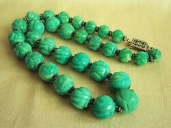 Extremely Rare Chinese Art Deco Antique Carved Turquoise Bead Sterling Necklace