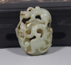 Han Dy. Chinese Old Green White Jade Carved Double Dragon Figure Lucky Pendant