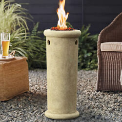 Fire Pit Column Round Tower Propane Gas Fireplace Patio Heater Portable Outdoor