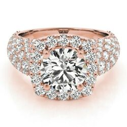 Real 14k Rose Gold Ring 1.70 Ct Solitaire Diamond Engagement Wedding Rings 5 6 7