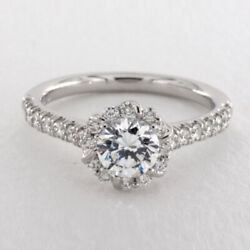 Real 0.98 Ct Diamond Engagement 18 K White Gold Solitaire Ring Size 6 5 7 8