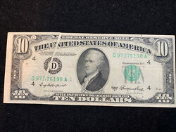 1950a 10 Error Note With 2 Errors- Front Folded Crease- Rev Way Off Center