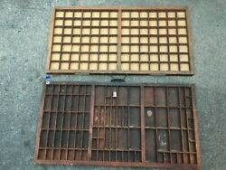 Lot Vintage Wooden Shadow Box Machinist Drawer Hanging Wall Display Letterpress