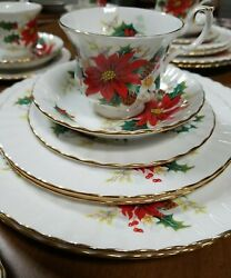 Vintage Poinsettia By Royal Albert Bone China 41 Piece Set Made In England