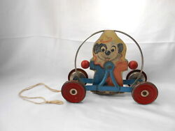 Vintage Gong Bell Wood And Metal Dog Clown Child's Pull Toy
