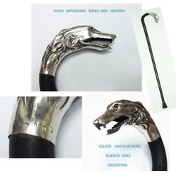 Rare Old Silver Cane Greyhound Dog Open Mouth Tongue Glass Eyes