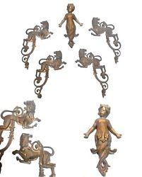 5 French Chandeliers And Furniture Parts Putto Lions Excellent 1920