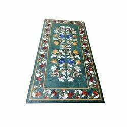 4and039x2and039 Green Dining Marble Table Top Coffee Center Inlay Antique Lapis Malachite